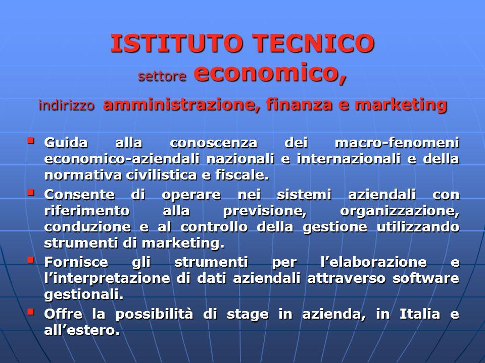ISTITUTO TECNICO settore economico, indirizzo amministrazione, finanza e marketing