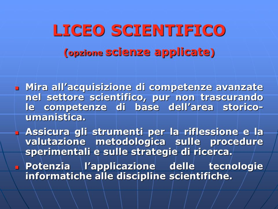 LICEO SCIENTIFICO (opzione scienze applicate)