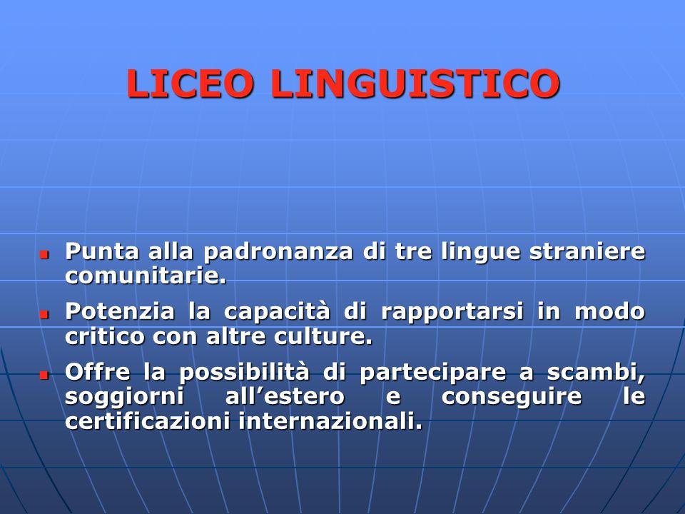 LICEO LINGUISTICO Punta alla padronanza di tre lingue straniere comunitarie. Potenzia la capacità di rapportarsi in modo critico con altre culture.