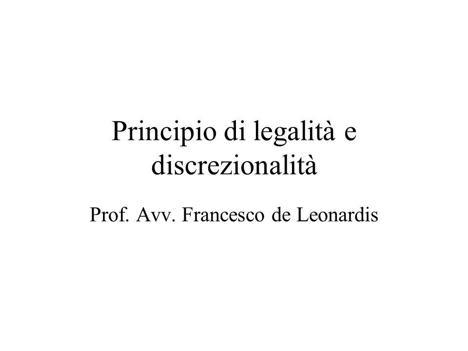 Principio di legalità e discrezionalità