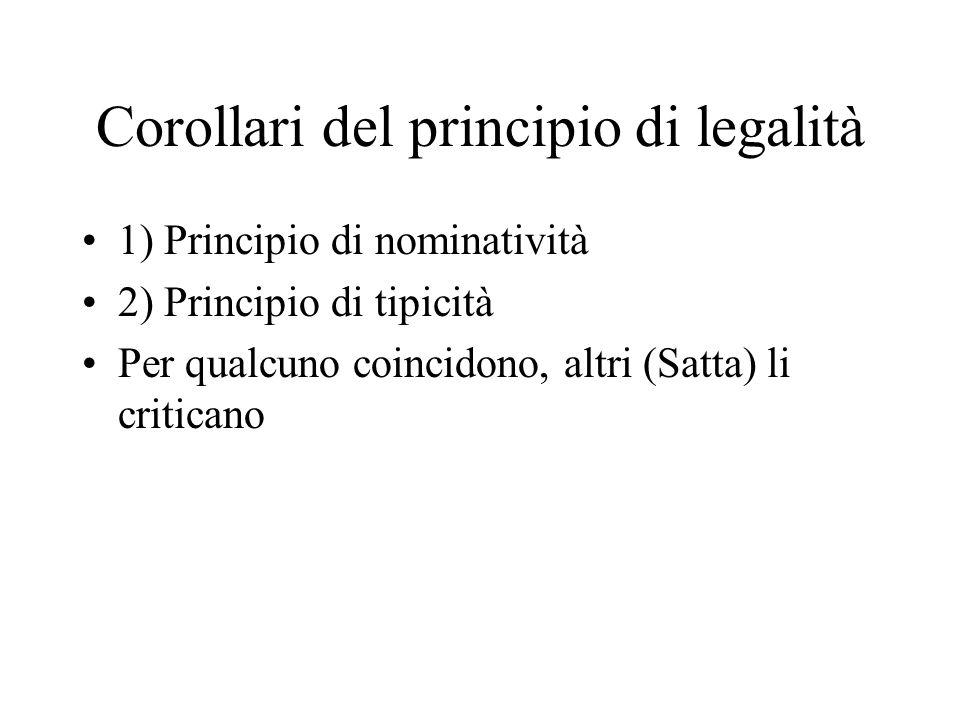 Corollari del principio di legalità