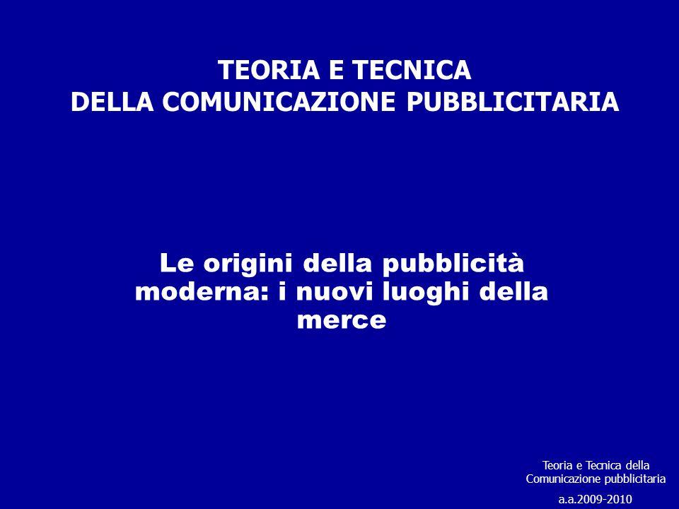TEORIA E TECNICA DELLA COMUNICAZIONE PUBBLICITARIA