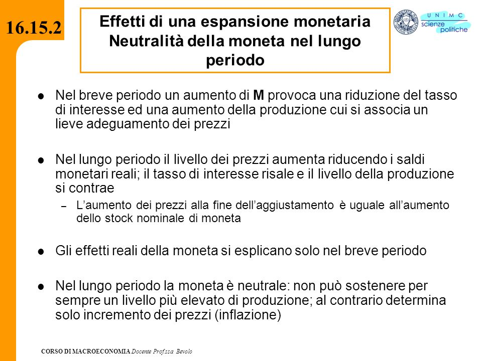 16.15.2 Effetti di una espansione monetaria