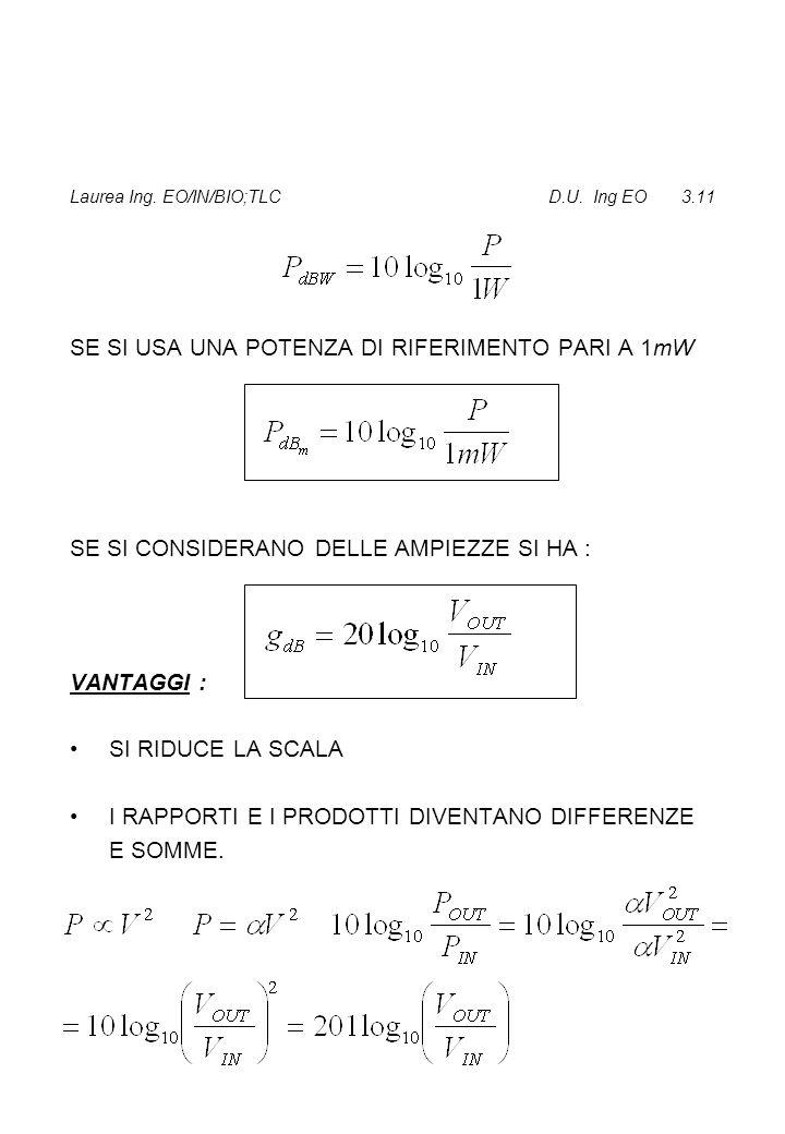Laurea Ing. EO/IN/BIO;TLC D.U. Ing EO 3.11