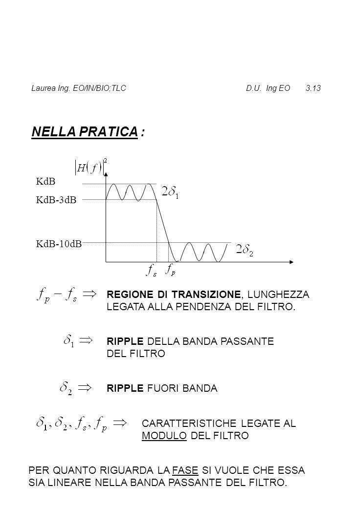 Laurea Ing. EO/IN/BIO;TLC D.U. Ing EO 3.13