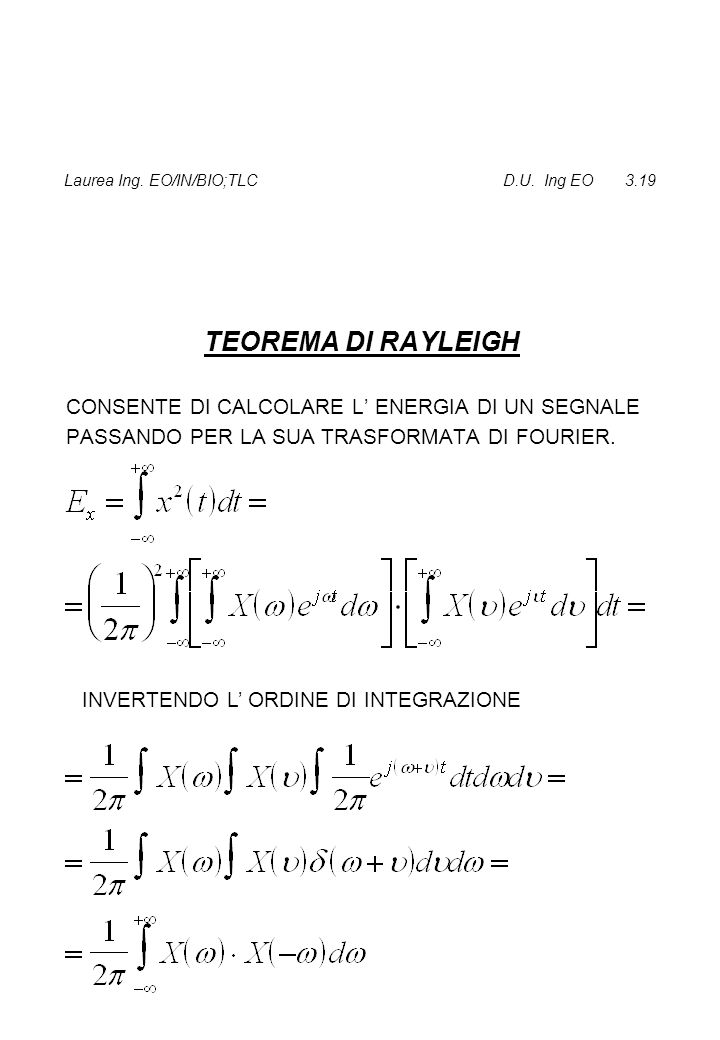 Laurea Ing. EO/IN/BIO;TLC D.U. Ing EO 3.19