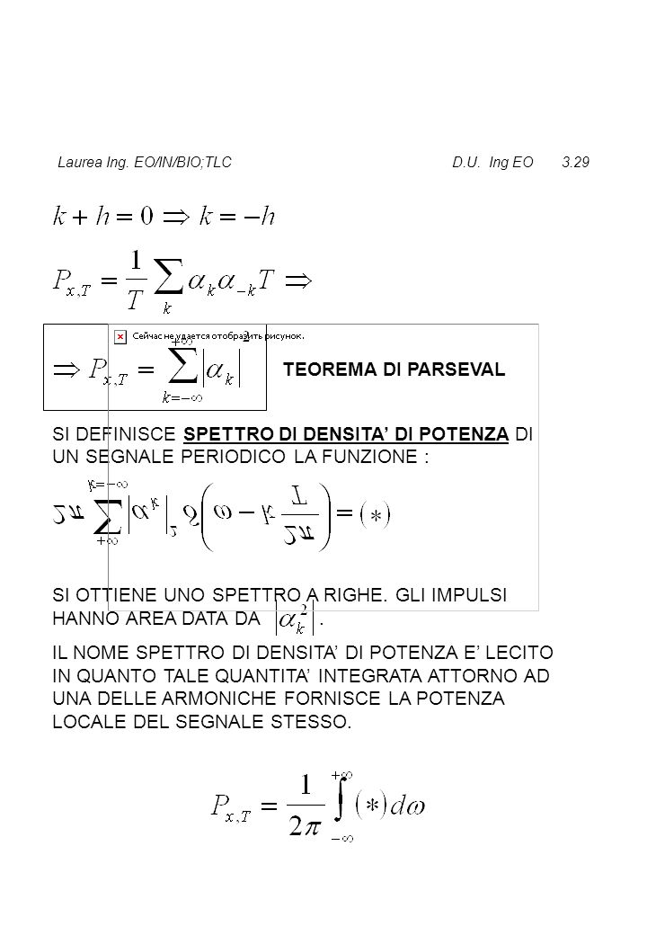 Laurea Ing. EO/IN/BIO;TLC D.U. Ing EO 3.29