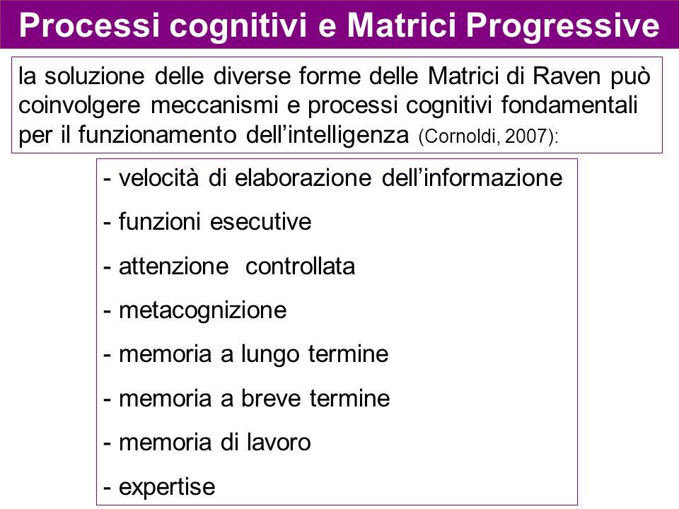 Processi cognitivi e Matrici Progressive