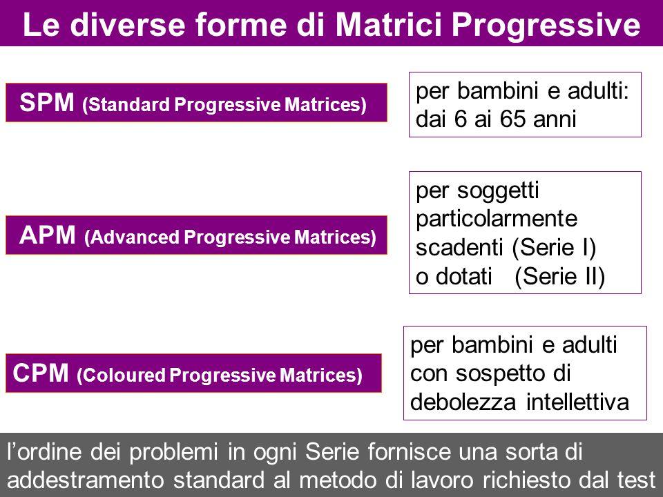 Le diverse forme di Matrici Progressive