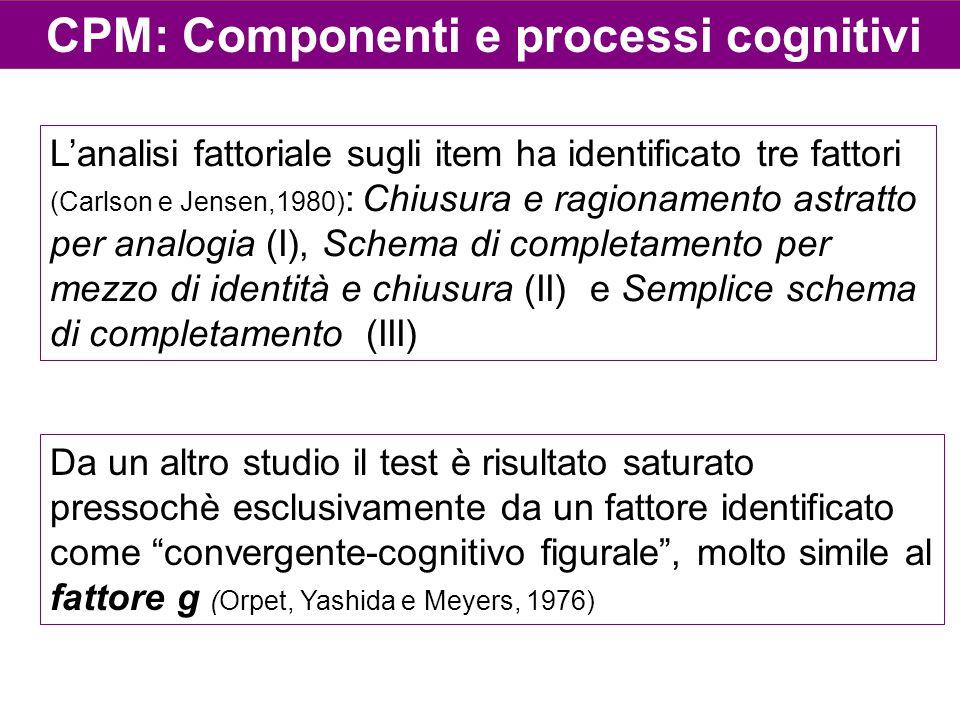 CPM: Componenti e processi cognitivi