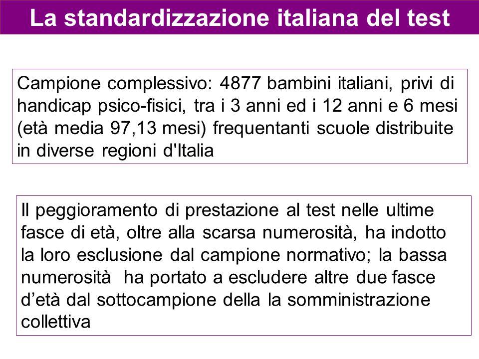 La standardizzazione italiana del test