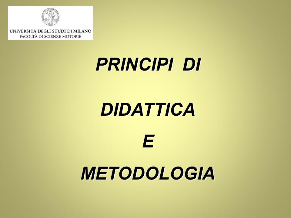 PRINCIPI DI DIDATTICA E METODOLOGIA