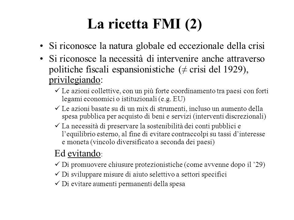 La ricetta FMI (2) Si riconosce la natura globale ed eccezionale della crisi.