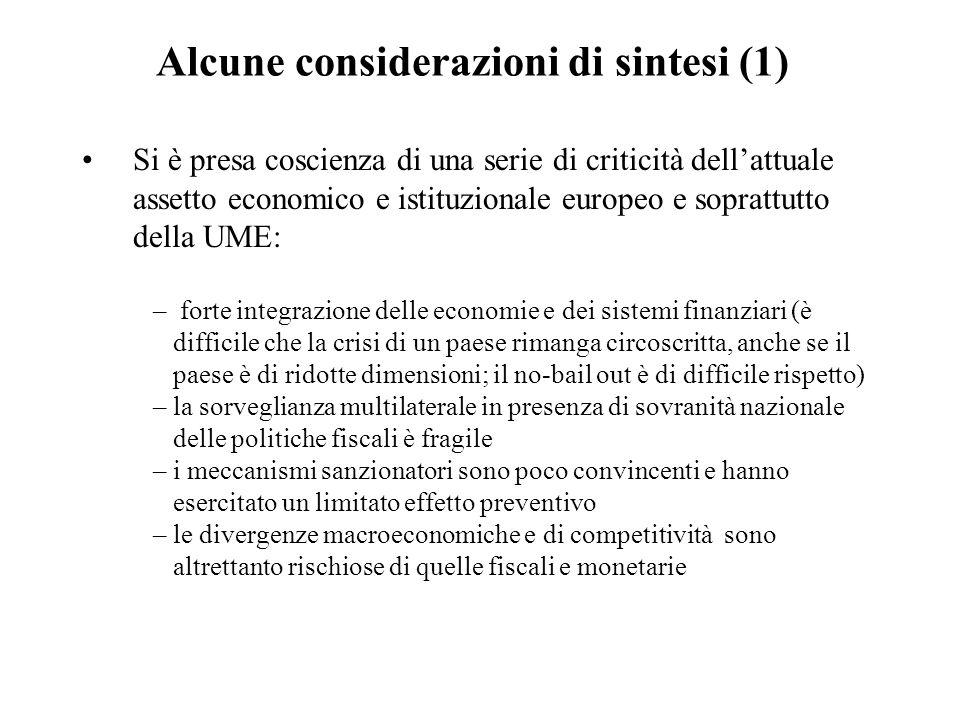 Alcune considerazioni di sintesi (1)