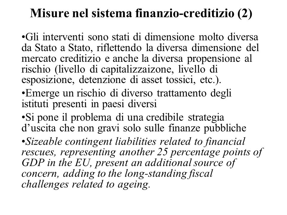 Misure nel sistema finanzio-creditizio (2)