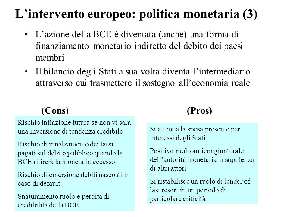 L'intervento europeo: politica monetaria (3)