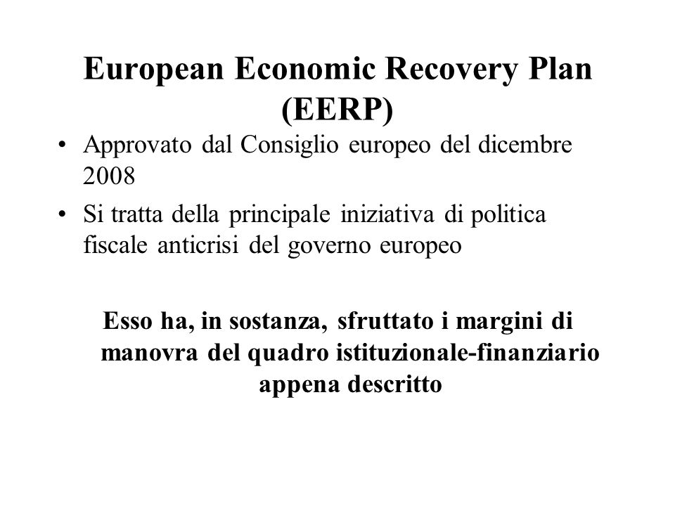 European Economic Recovery Plan (EERP)