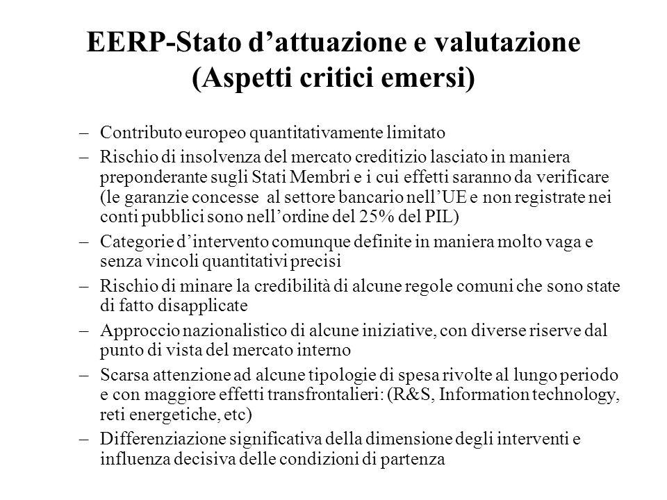 EERP-Stato d'attuazione e valutazione (Aspetti critici emersi)
