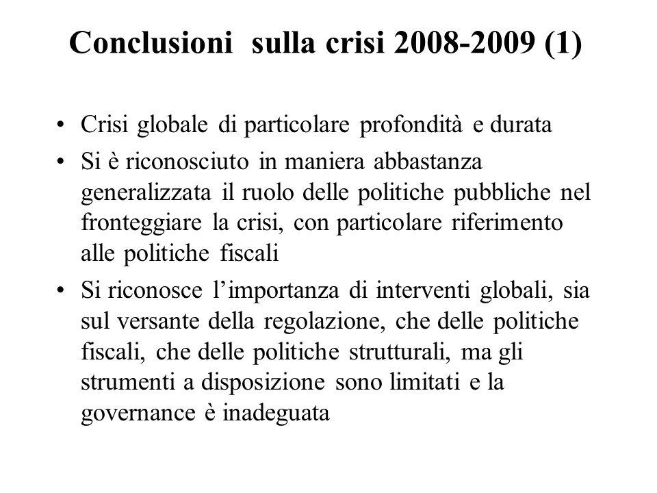 Conclusioni sulla crisi 2008-2009 (1)
