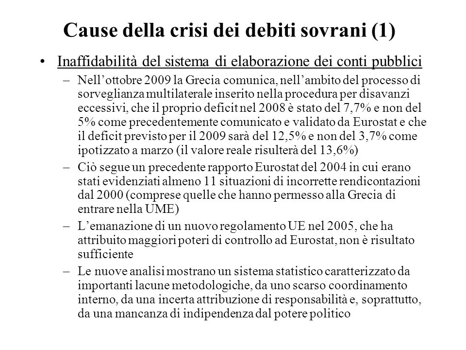 Cause della crisi dei debiti sovrani (1)