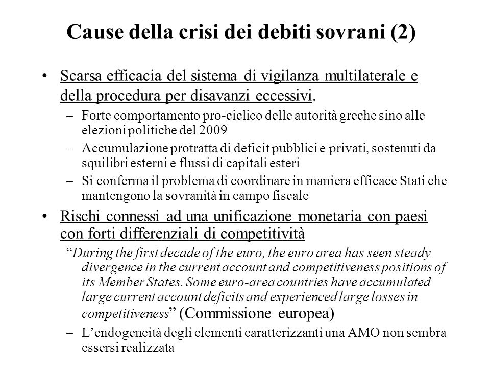 Cause della crisi dei debiti sovrani (2)