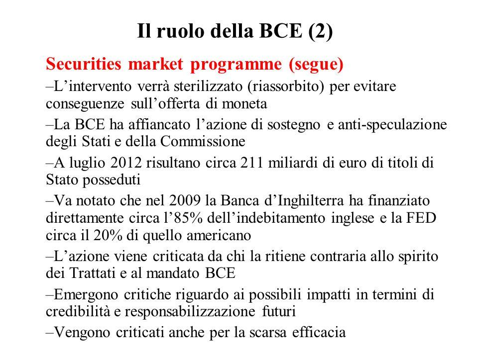 Il ruolo della BCE (2) Securities market programme (segue)
