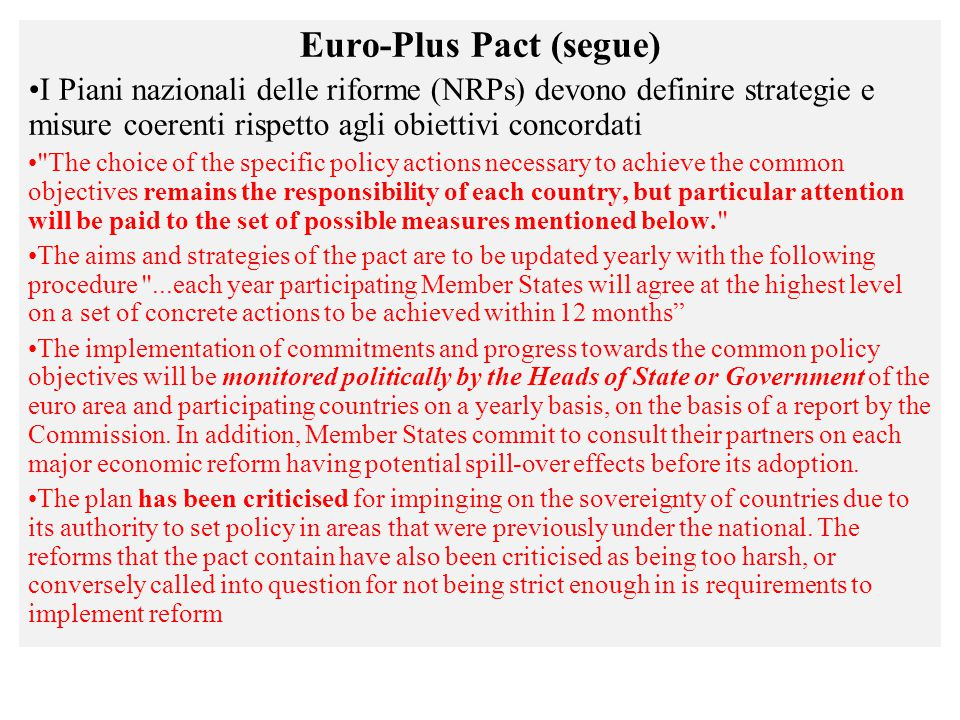 Euro-Plus Pact (segue)
