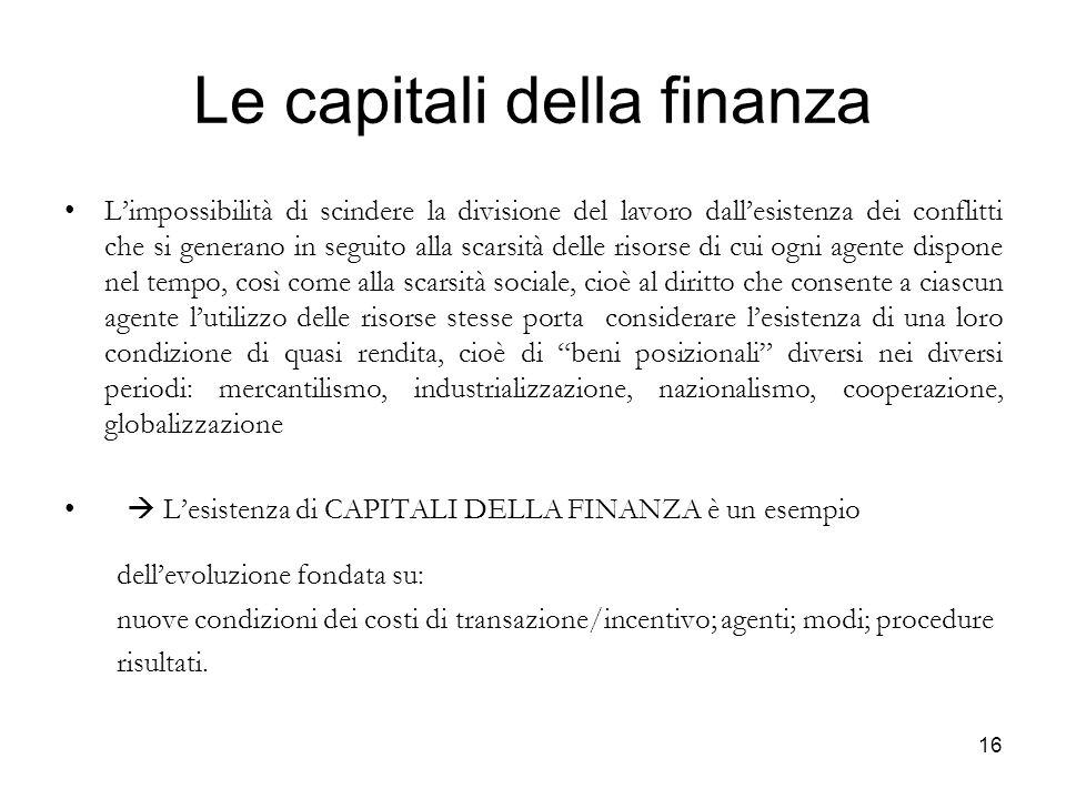 Le capitali della finanza