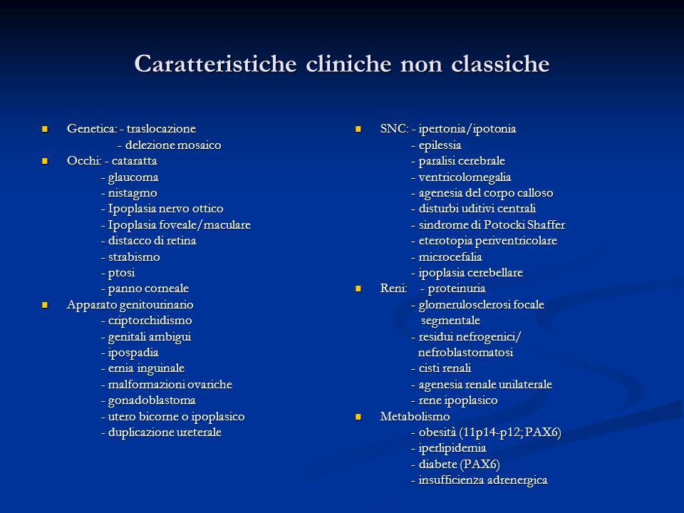 Caratteristiche cliniche non classiche