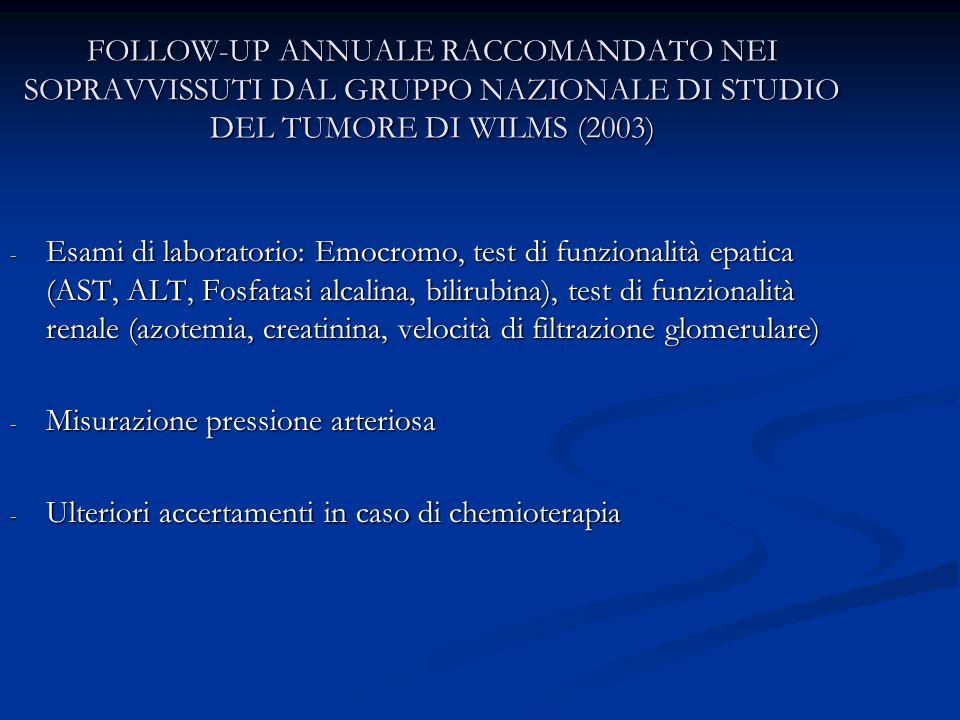 FOLLOW-UP ANNUALE RACCOMANDATO NEI SOPRAVVISSUTI DAL GRUPPO NAZIONALE DI STUDIO DEL TUMORE DI WILMS (2003)