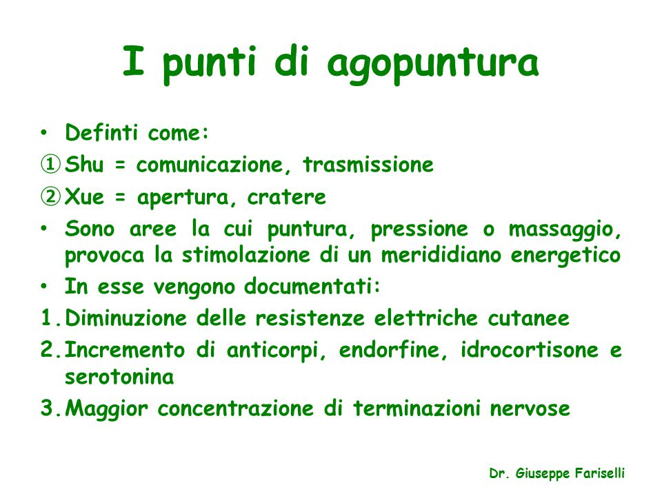 I punti di agopuntura Definti come: Shu = comunicazione, trasmissione