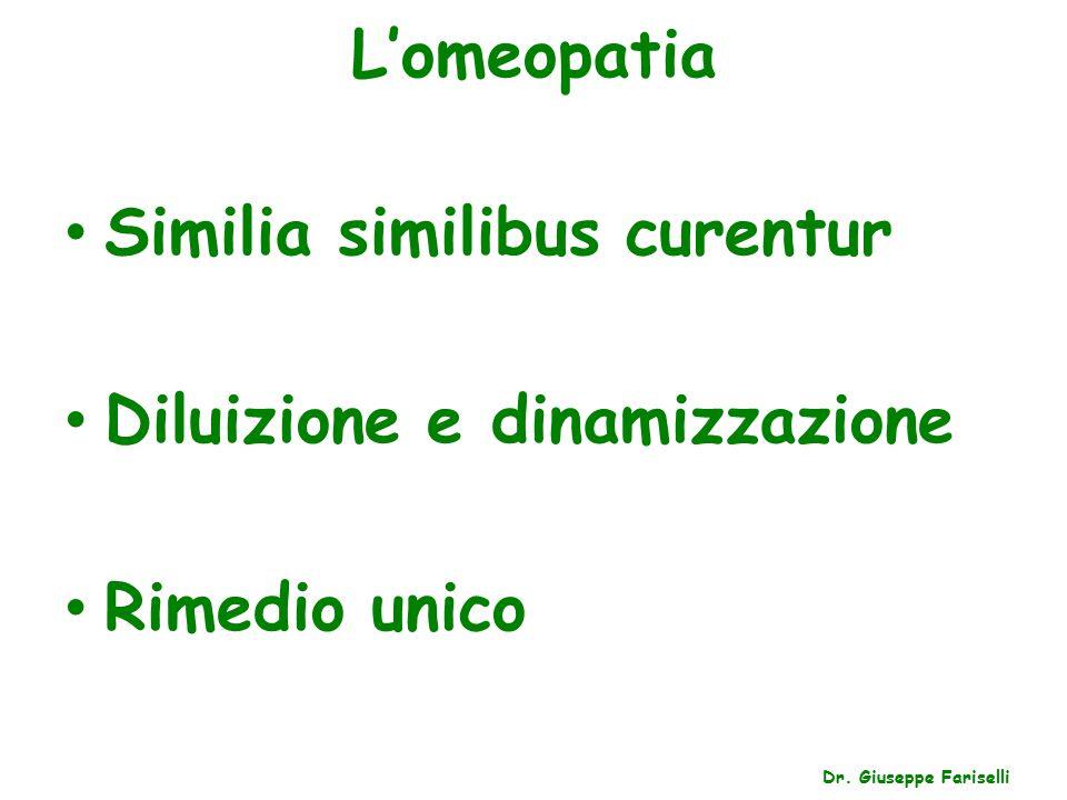 Similia similibus curentur Diluizione e dinamizzazione Rimedio unico