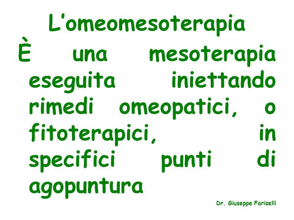 L'omeomesoterapia È una mesoterapia eseguita iniettando rimedi omeopatici, o fitoterapici, in specifici punti di agopuntura.