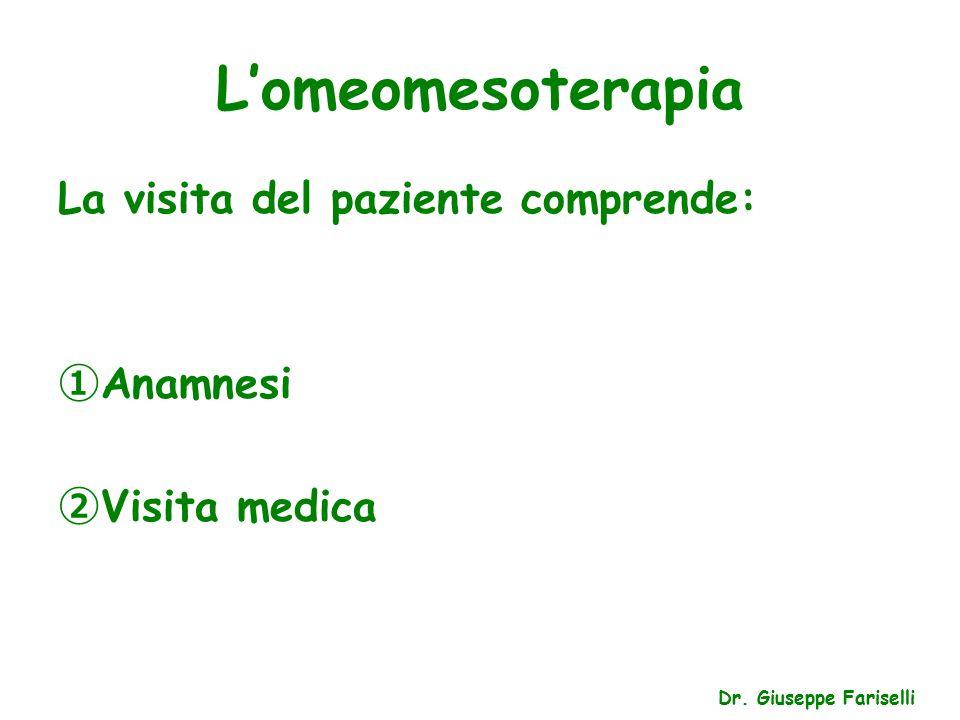L'omeomesoterapia La visita del paziente comprende: Anamnesi