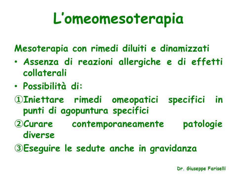 L'omeomesoterapia Mesoterapia con rimedi diluiti e dinamizzati