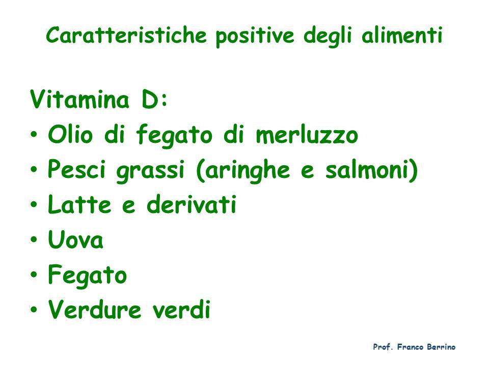 Caratteristiche positive degli alimenti
