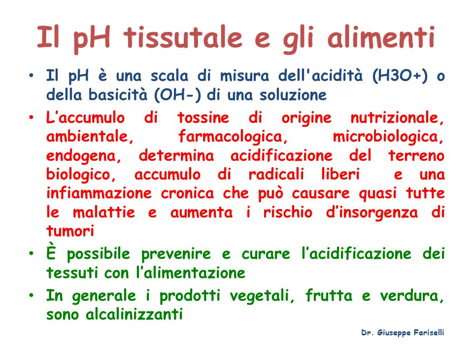 Il pH tissutale e gli alimenti