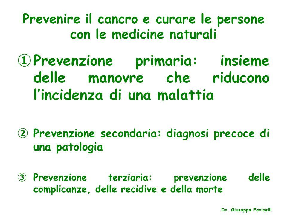 Prevenire il cancro e curare le persone con le medicine naturali