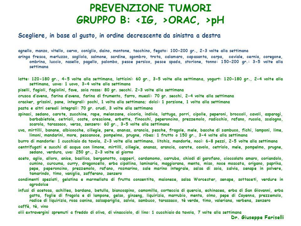 PREVENZIONE TUMORI GRUPPO B: <IG, >ORAC, >pH