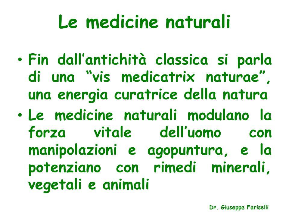 Le medicine naturali Fin dall'antichità classica si parla di una vis medicatrix naturae , una energia curatrice della natura.