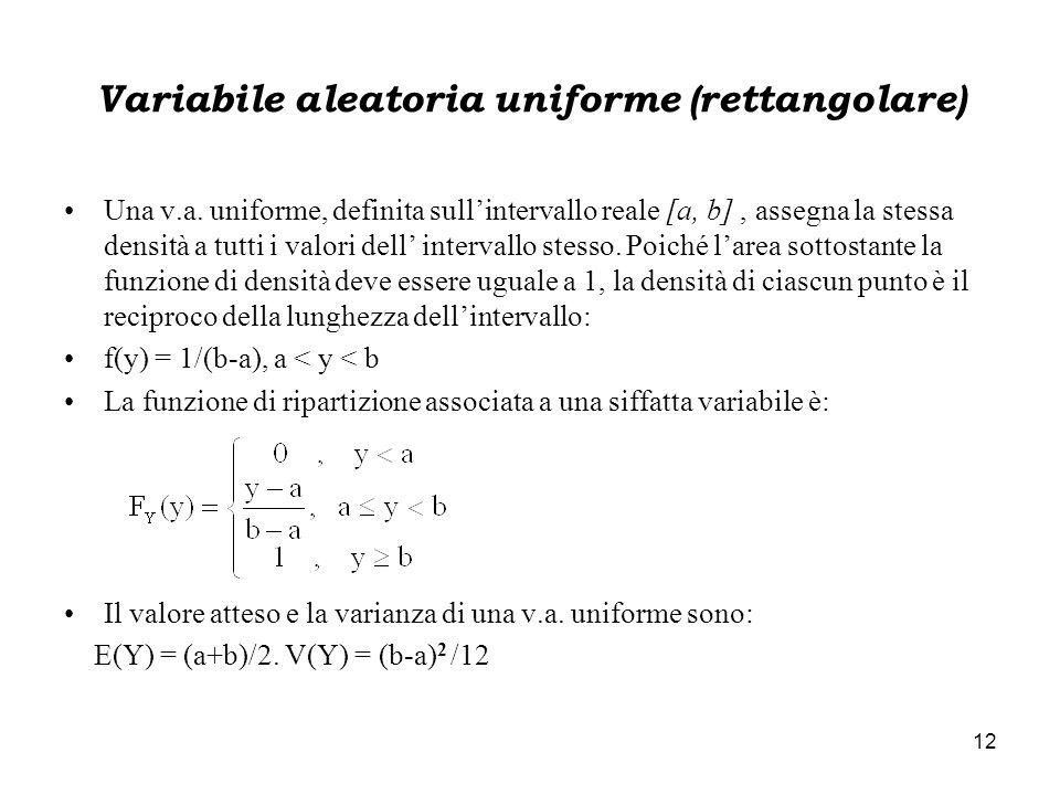 Variabile aleatoria uniforme (rettangolare)