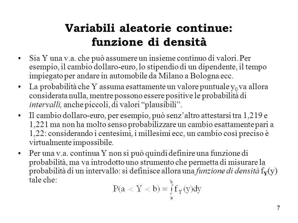 Variabili aleatorie continue: funzione di densità