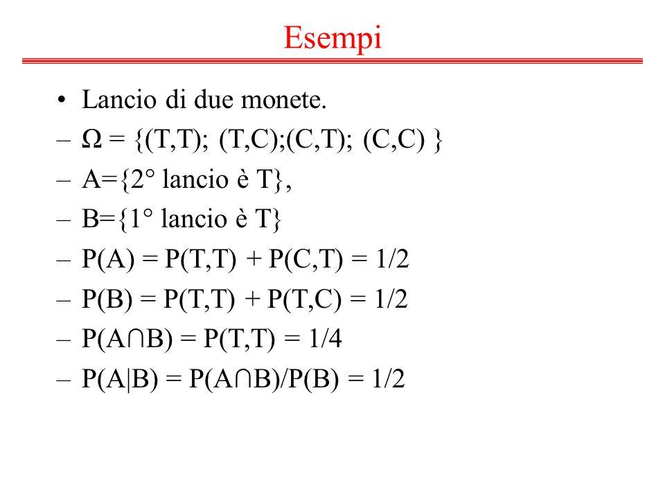 Esempi Lancio di due monete. Ω = {(T,T); (T,C);(C,T); (C,C) }