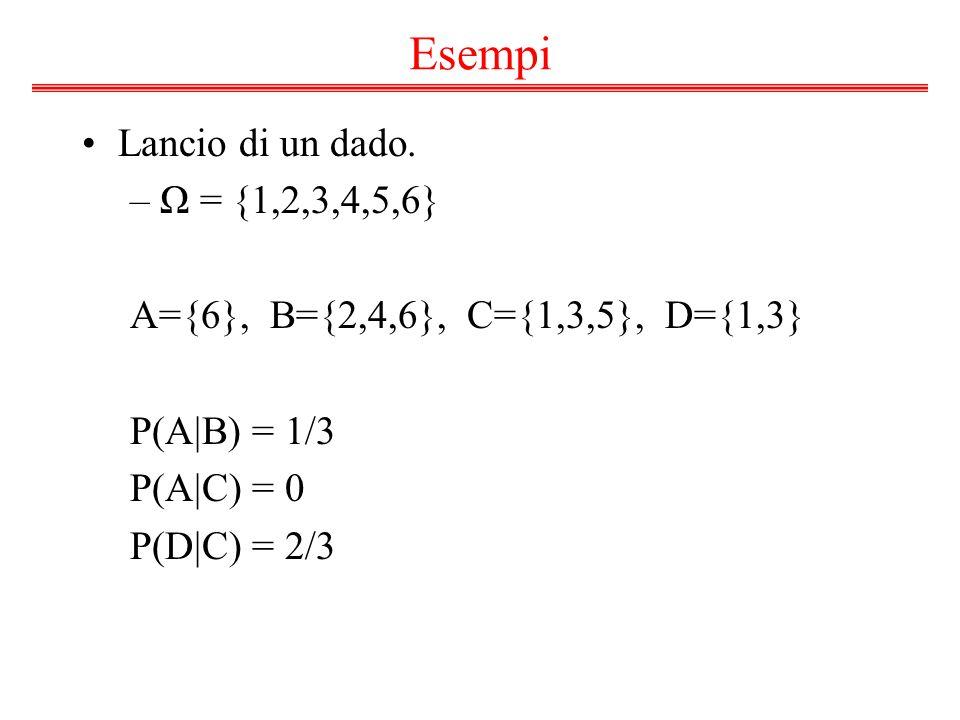 Esempi Lancio di un dado. Ω = {1,2,3,4,5,6}