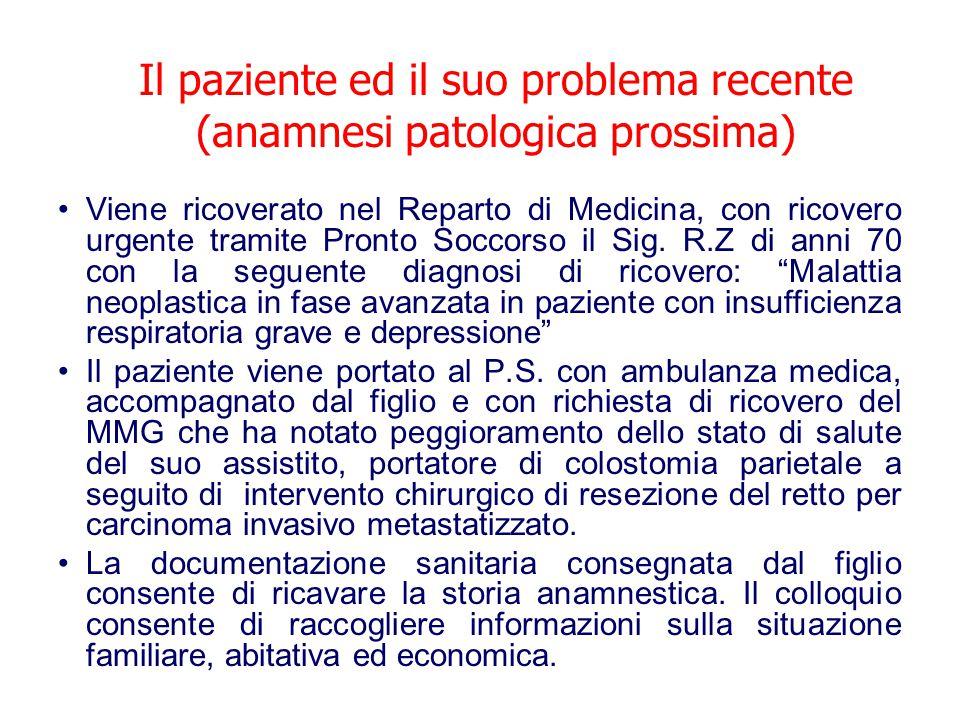 Il paziente ed il suo problema recente (anamnesi patologica prossima)