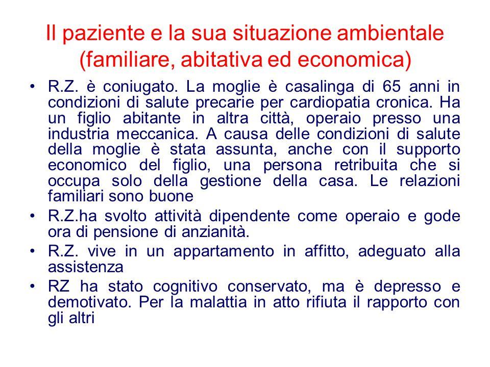 Il paziente e la sua situazione ambientale (familiare, abitativa ed economica)