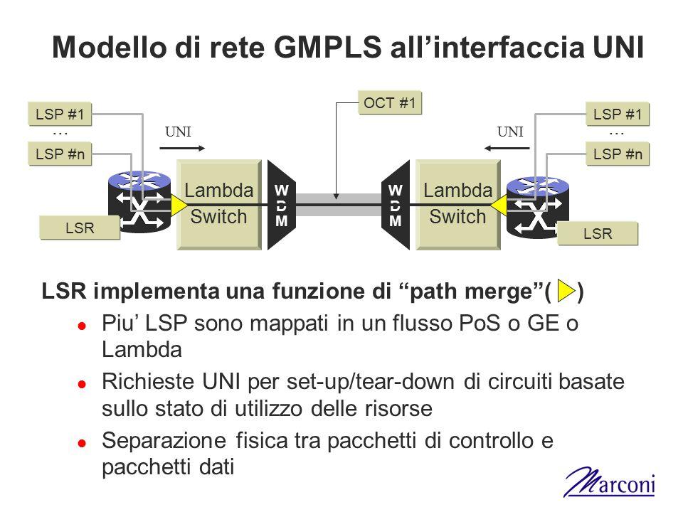 Modello di rete GMPLS all'interfaccia UNI