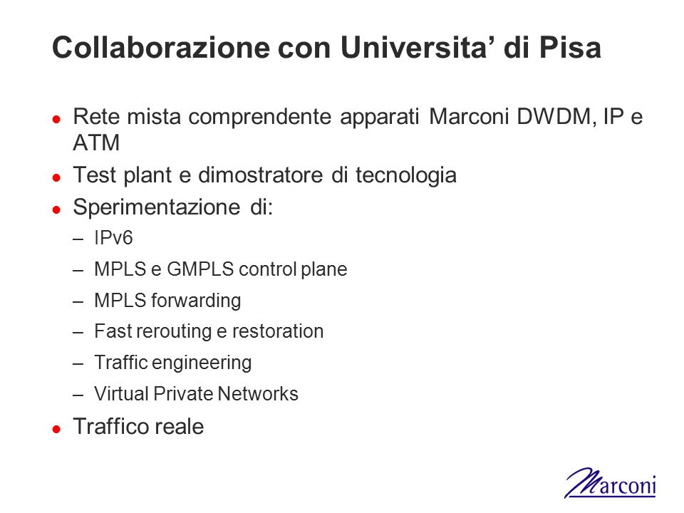 Collaborazione con Universita' di Pisa