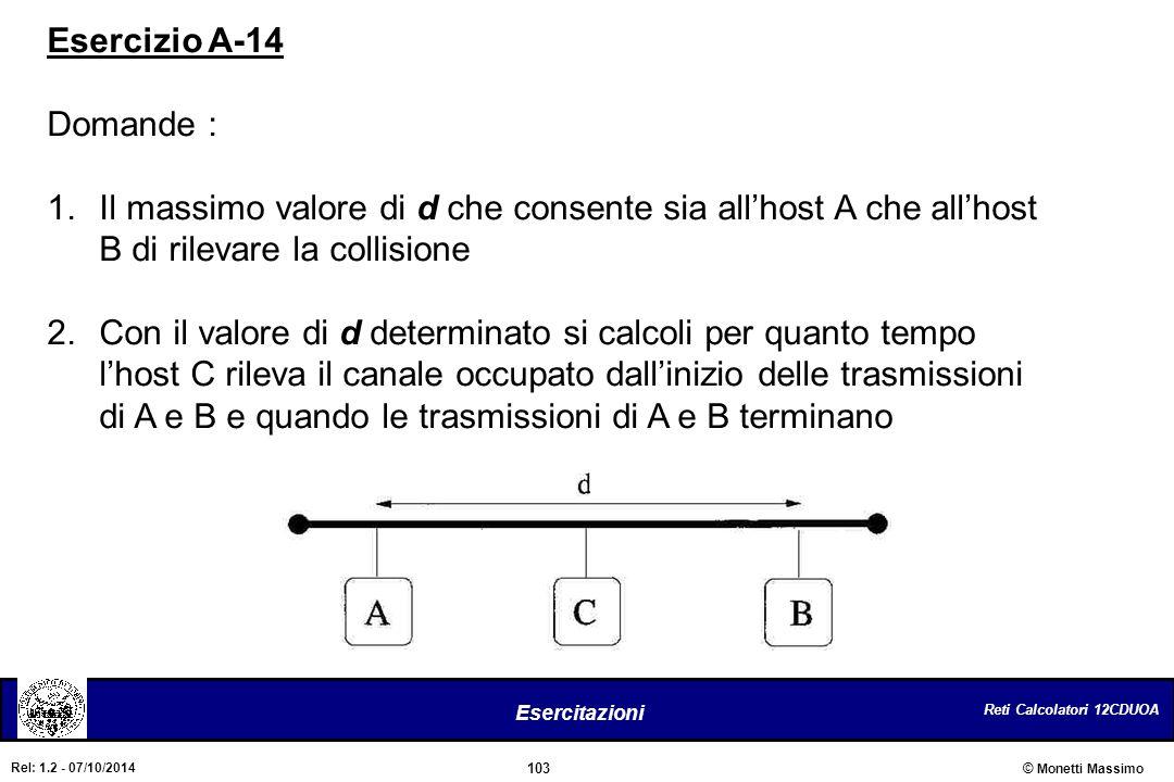 Esercizio A-14 Domande : Il massimo valore di d che consente sia all'host A che all'host B di rilevare la collisione.