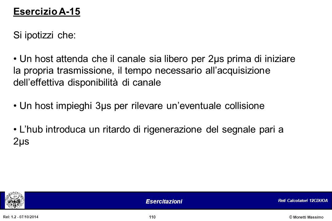 Esercizio A-15 Si ipotizzi che: